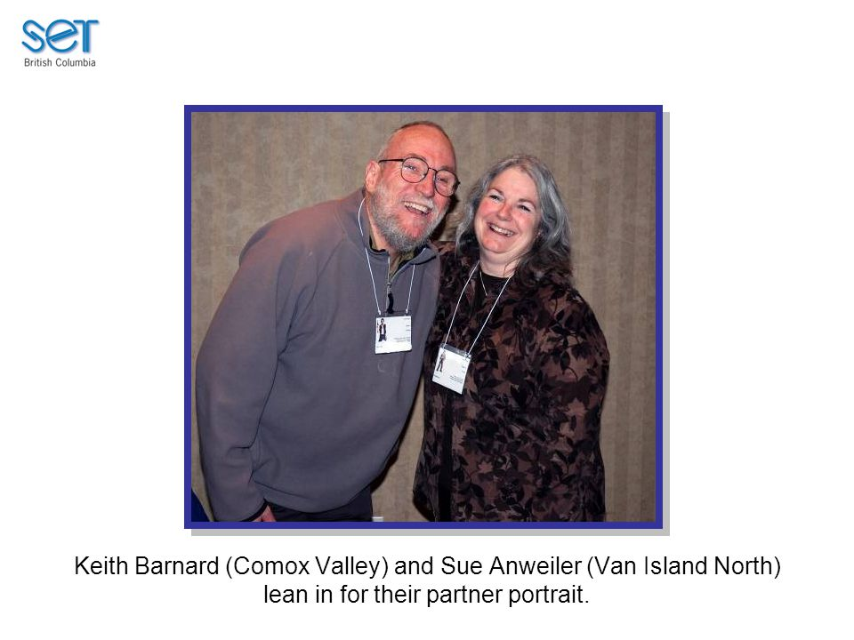 Keith Barnard (Comox Valley) and Sue Anweiler (Van Island North) lean in for their partner portrait.