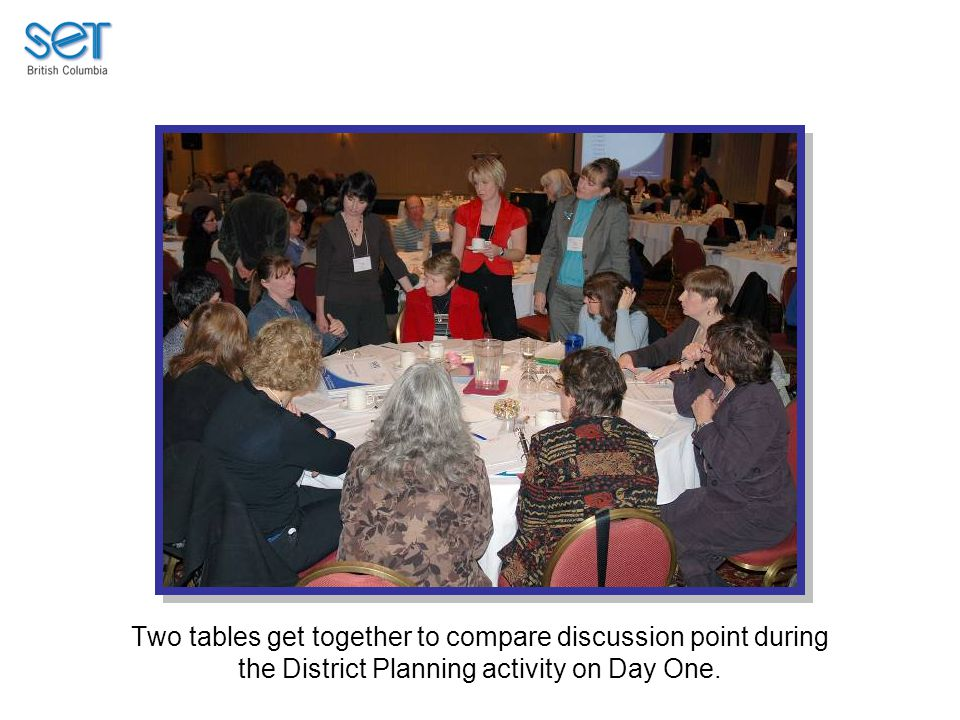 Two tables get together to compare discussion point during the District Planning activity on Day One.