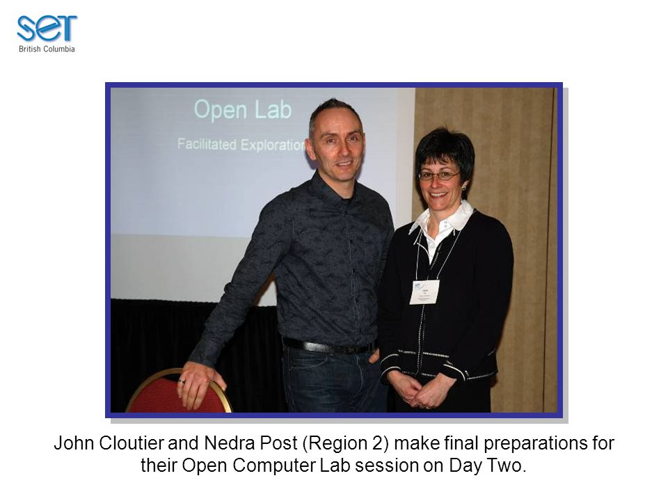 John Cloutier and Nedra Post (Region 2) make final preparations for their Open Computer Lab session on Day Two.