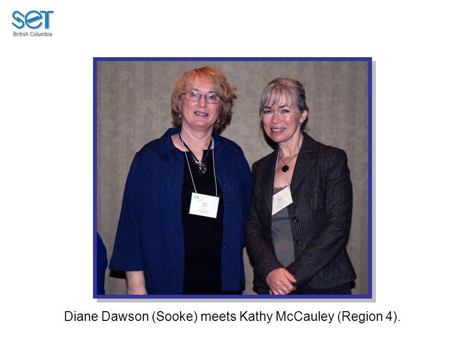 Diane Dawson (Sooke) meets Kathy McCauley (Region 4).