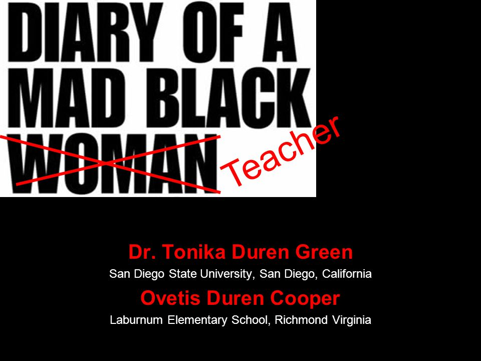 Dr. Tonika Duren Green San Diego State University, San Diego, California Ovetis Duren Cooper Laburnum Elementary School, Richmond Virginia Teacher