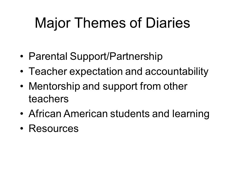 Major Themes of Diaries Parental Support/Partnership Teacher expectation and accountability Mentorship and support from other teachers African America
