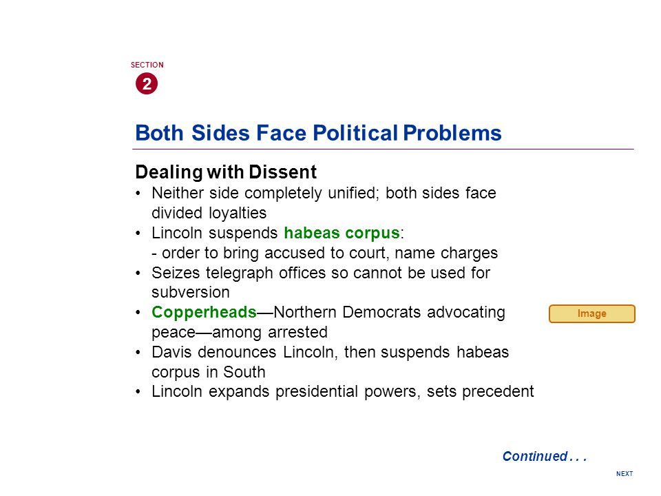 Both Sides Face Political Problems Dealing with Dissent Neither side completely unified; both sides face divided loyalties Lincoln suspends habeas corpus: - order to bring accused to court, name charges Seizes telegraph offices so cannot be used for subversion Copperheads—Northern Democrats advocating peace—among arrested Davis denounces Lincoln, then suspends habeas corpus in South Lincoln expands presidential powers, sets precedent 2 SECTION NEXT Continued...