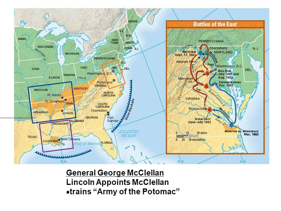 General George McClellan Lincoln Appoints McClellan  trains Army of the Potomac