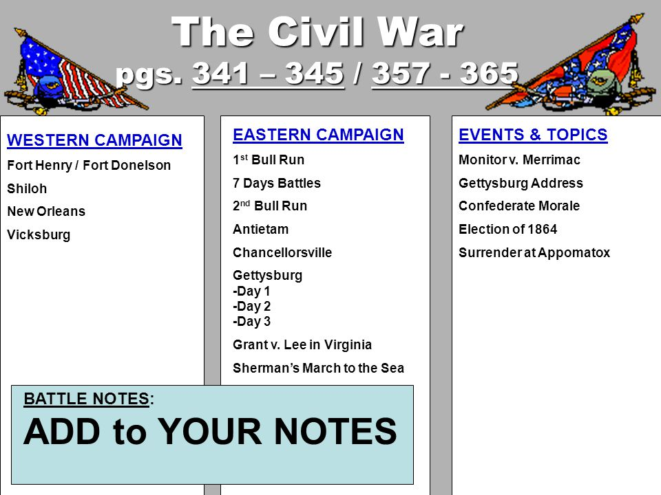 The Civil War pgs. 341 – 345 / 357 - 365 WESTERN CAMPAIGN Fort Henry / Fort Donelson Shiloh New Orleans Vicksburg EASTERN CAMPAIGN 1 st Bull Run 7 Day