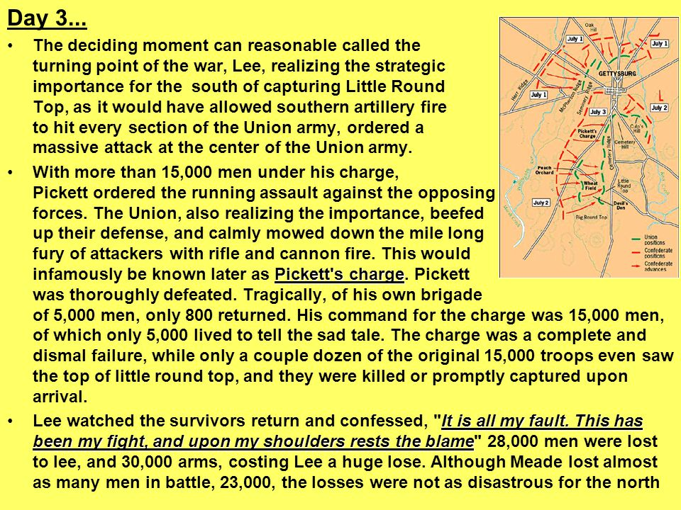 Day 3... The deciding moment can reasonable called the turning point of the war, Lee, realizing the strategic importance for the south of capturing Li