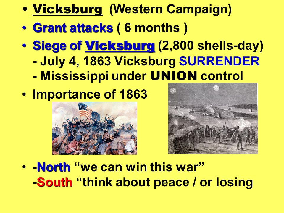 Vicksburg (Western Campaign) Grant attacksGrant attacks ( 6 months ) Siege of VicksburgSiege of Vicksburg (2,800 shells-day) - July 4, 1863 Vicksburg SURRENDER - Mississippi under UNION control Importance of 1863 North South-North we can win this war -South think about peace / or losing