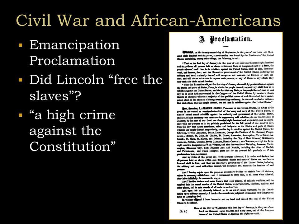 Civil War and African-Americans  Conservative Republican view  Radical Republicans  Thaddeus Stevens – Rep PA  Charles Sumner – Senator Mass  Benjamin Wade – Senator OH  Confiscation Act  contraband of war