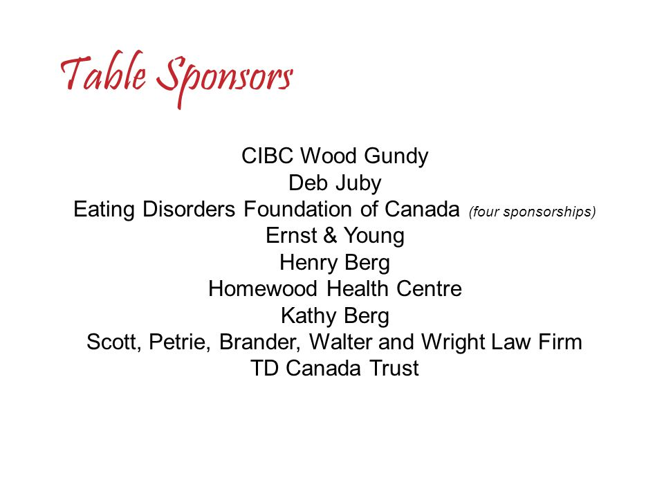 CIBC Wood Gundy Deb Juby Eating Disorders Foundation of Canada (four sponsorships) Ernst & Young Henry Berg Homewood Health Centre Kathy Berg Scott, P