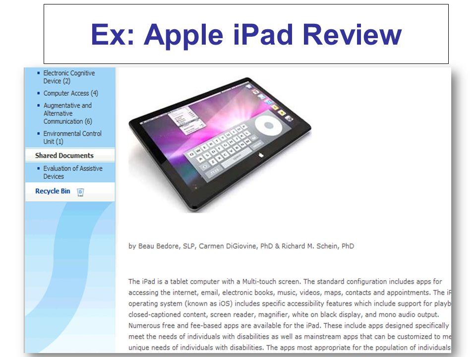 Ex: Apple iPad Review