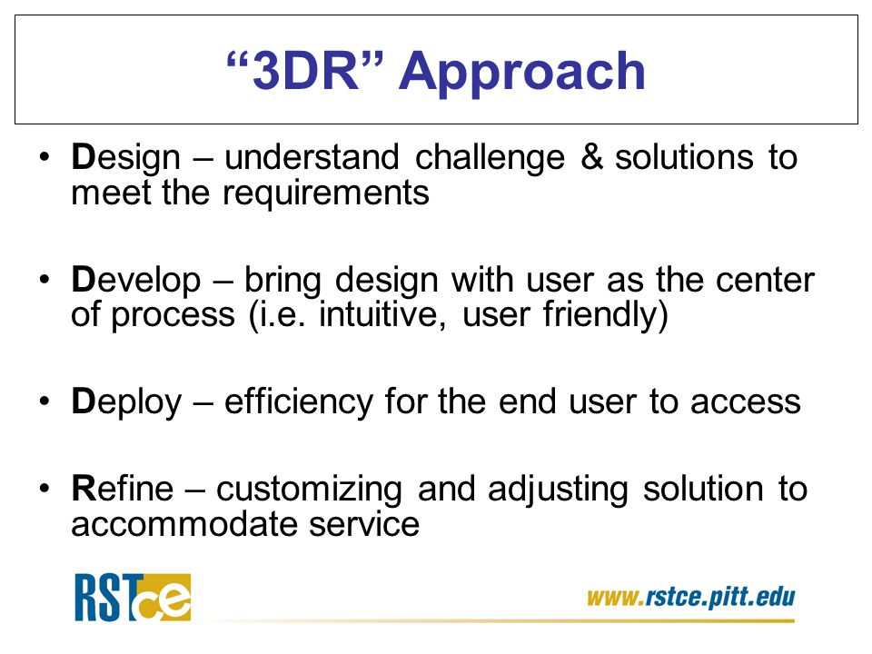 """""""3DR"""" Approach Design – understand challenge & solutions to meet the requirements Develop – bring design with user as the center of process (i.e. intu"""