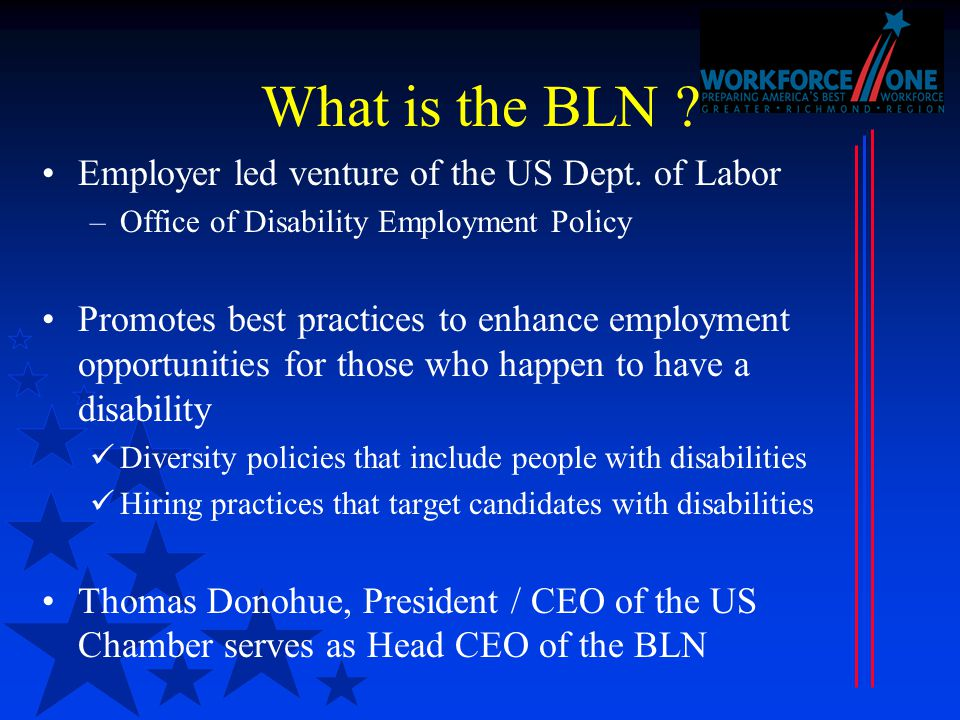 What is the BLN . Employer led venture of the US Dept.