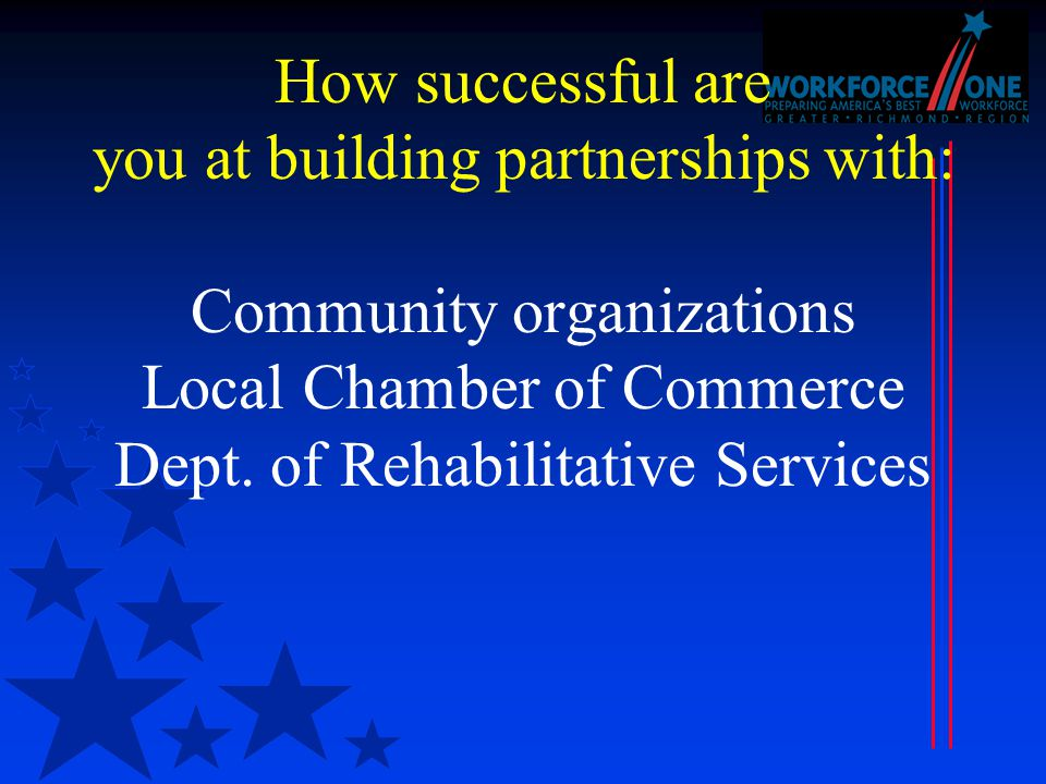 How successful are you at building partnerships with: Community organizations Local Chamber of Commerce Dept.