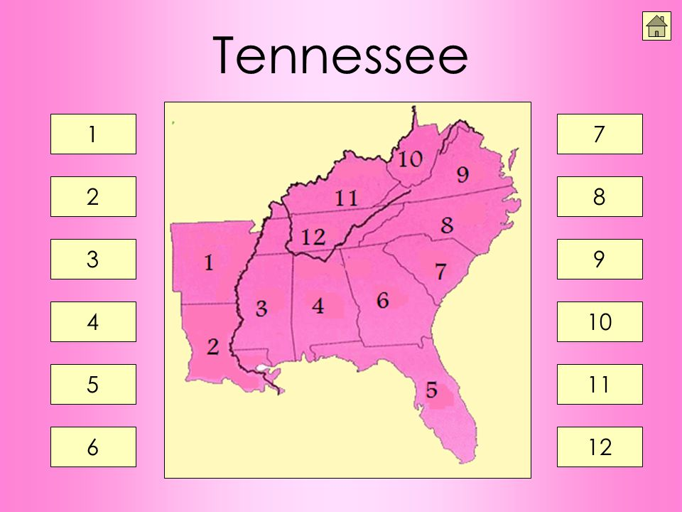 Tennessee 1 2 3 4 5 6 7 8 9 10 11 12
