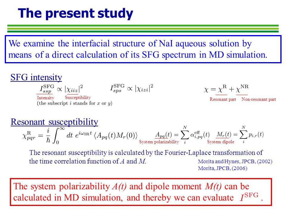 The present study We examine the interfacial structure of NaI aqueous solution by means of a direct calculation of its SFG spectrum in MD simulation.