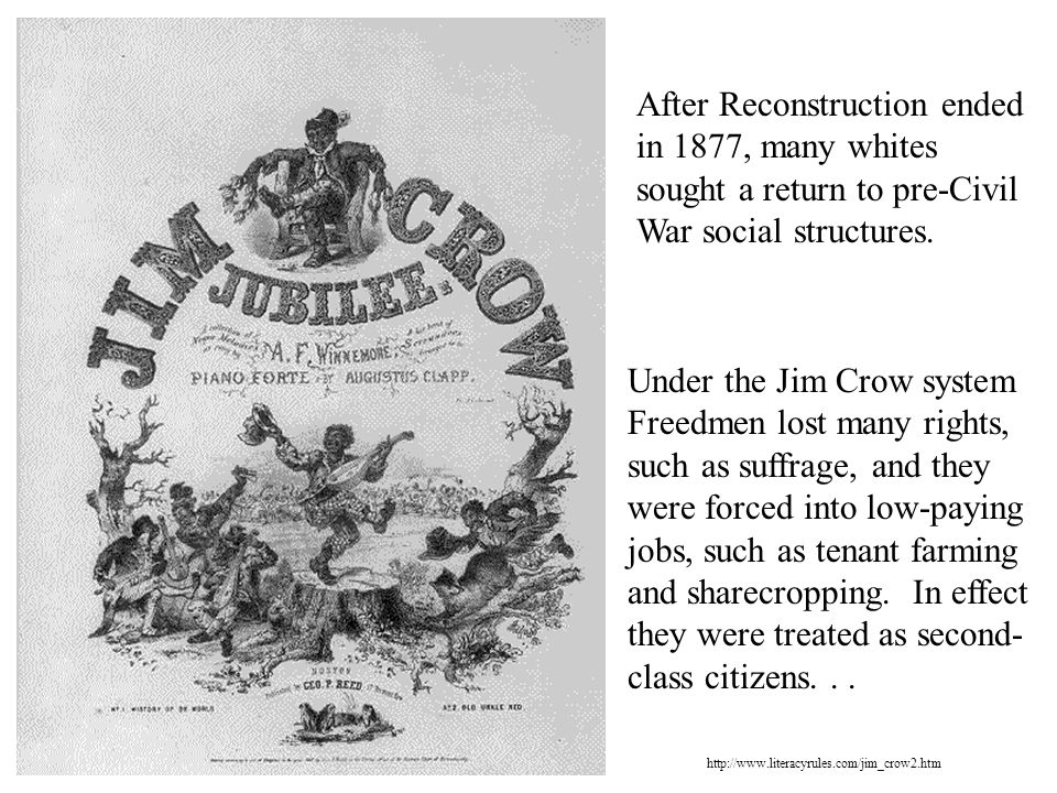 After Reconstruction ended in 1877, many whites sought a return to pre-Civil War social structures.