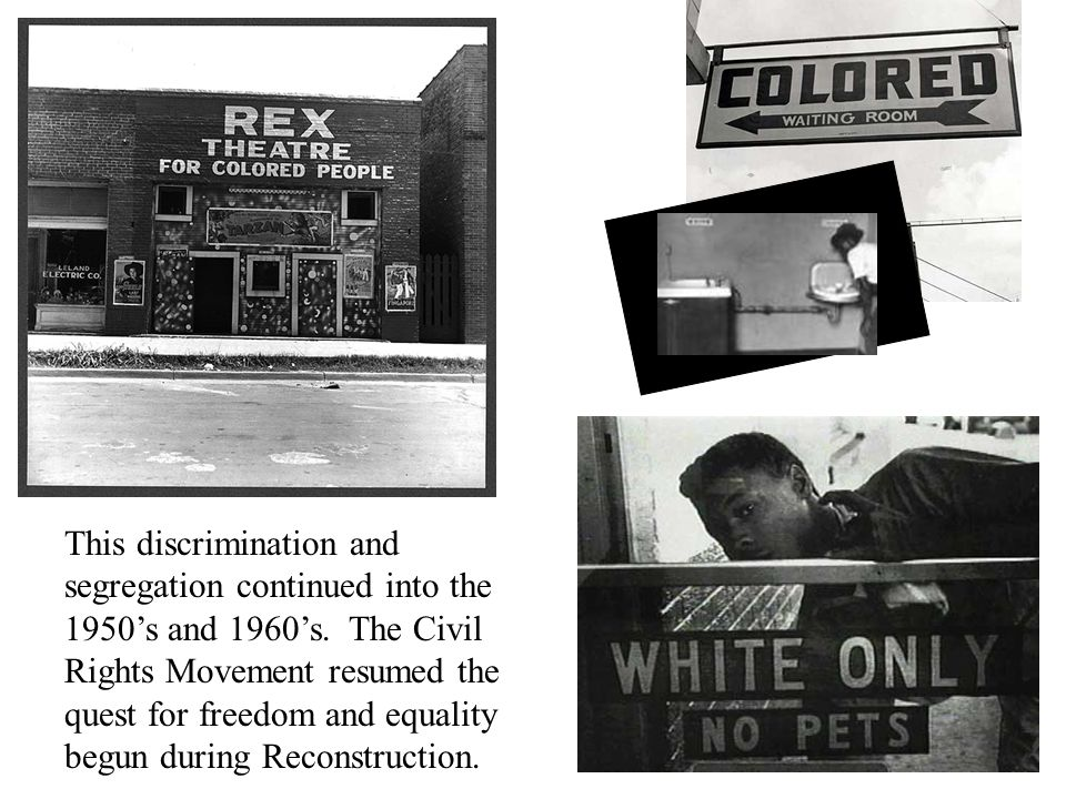 This discrimination and segregation continued into the 1950's and 1960's.