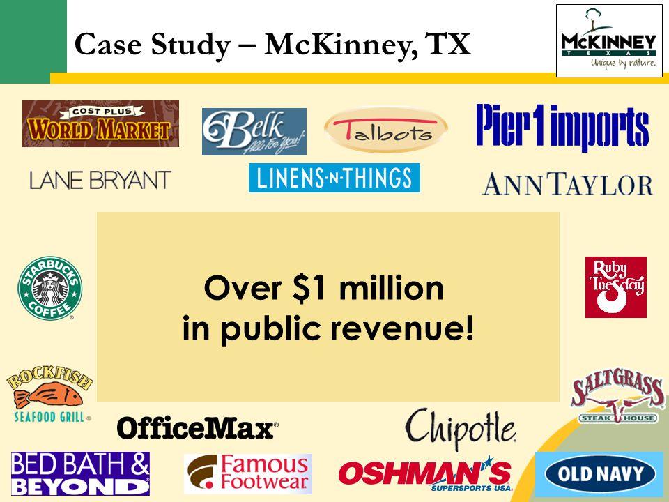 Retailer/RestaurantSales in MillionsPreferred GLA Ann Taylor$2.445,000 Belk$10.3050,000-180,000 Cost Plus World Market$4.0118,300 Lane Bryant$1.034,200-5,500 Linens & Things$5.4435,000 Pier One Imports$1.709,000-20,000 Talbot's$1.673,700-5,000 Over $1 million in public revenue.