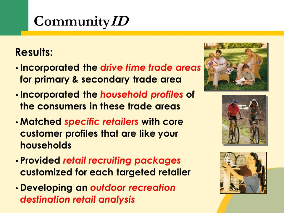 Results: Incorporated the drive time trade areas for primary & secondary trade area Incorporated the household profiles of the consumers in these trad