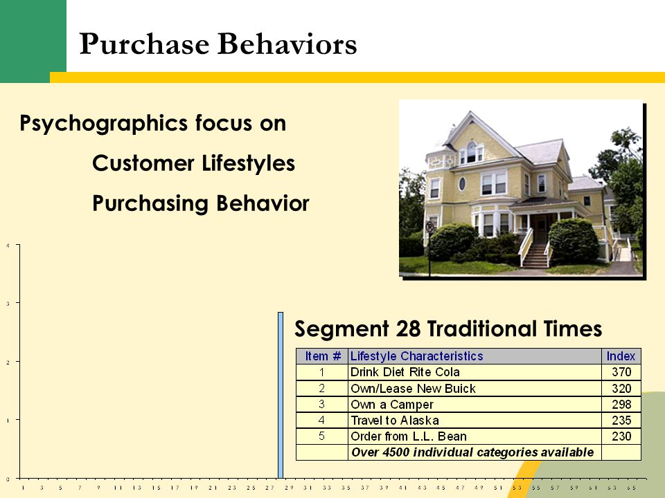 Psychographics focus on Customer Lifestyles Purchasing Behavior Segment 28 Traditional Times Purchase Behaviors