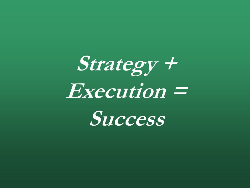 Strategy + Execution = Success