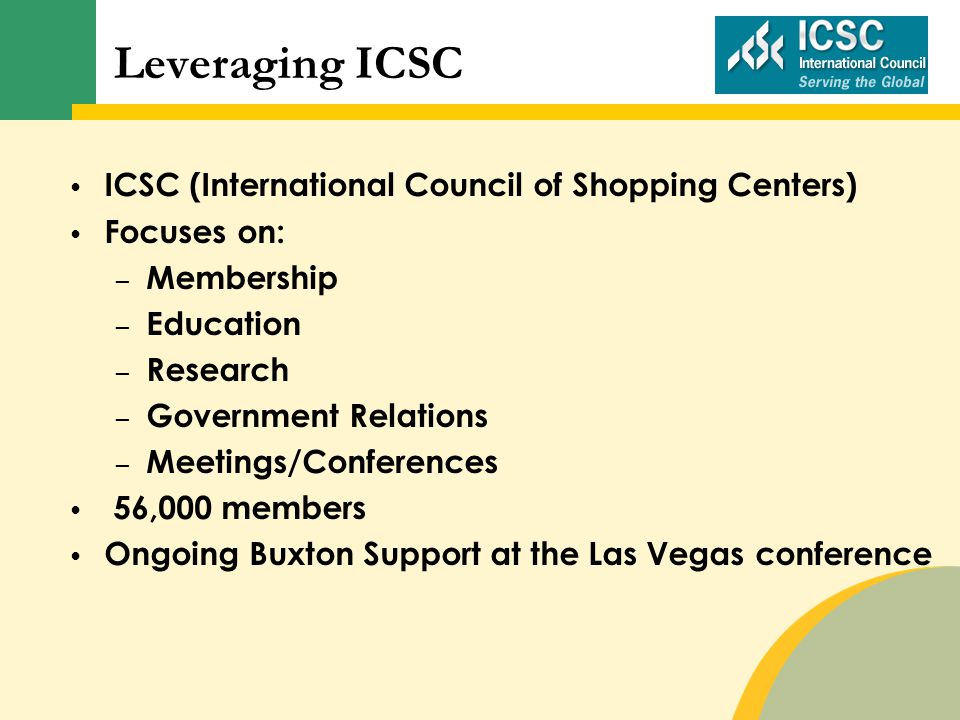 ICSC (International Council of Shopping Centers) Focuses on: – Membership – Education – Research – Government Relations – Meetings/Conferences 56,000