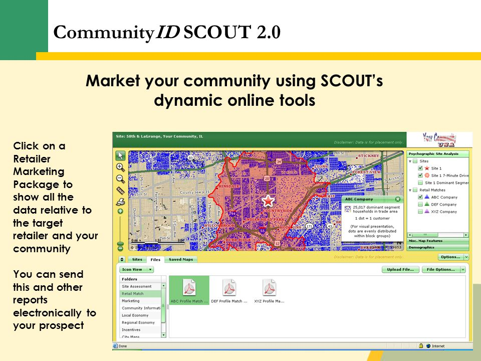 CommunityID SCOUT 2.0 Market your community using SCOUT's dynamic online tools Click on a Retailer Marketing Package to show all the data relative to the target retailer and your community You can send this and other reports electronically to your prospect