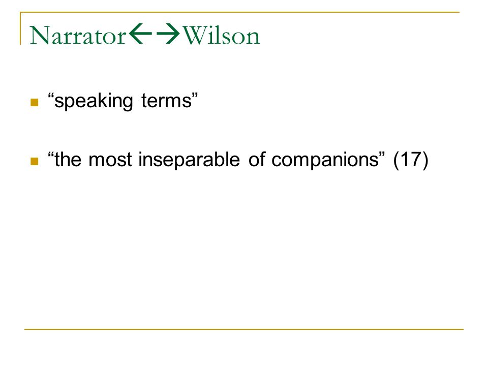 Narrator  Wilson speaking terms the most inseparable of companions (17)