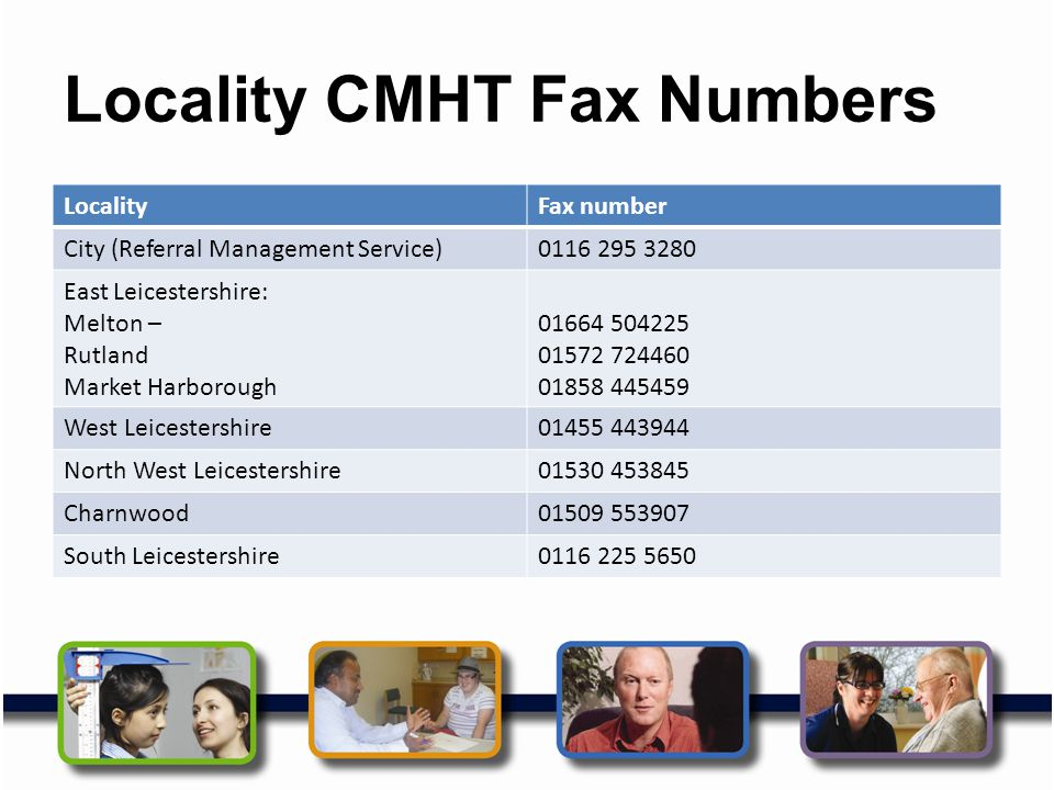 Locality CMHT Fax Numbers LocalityFax number City (Referral Management Service)0116 295 3280 East Leicestershire: Melton – Rutland Market Harborough 0