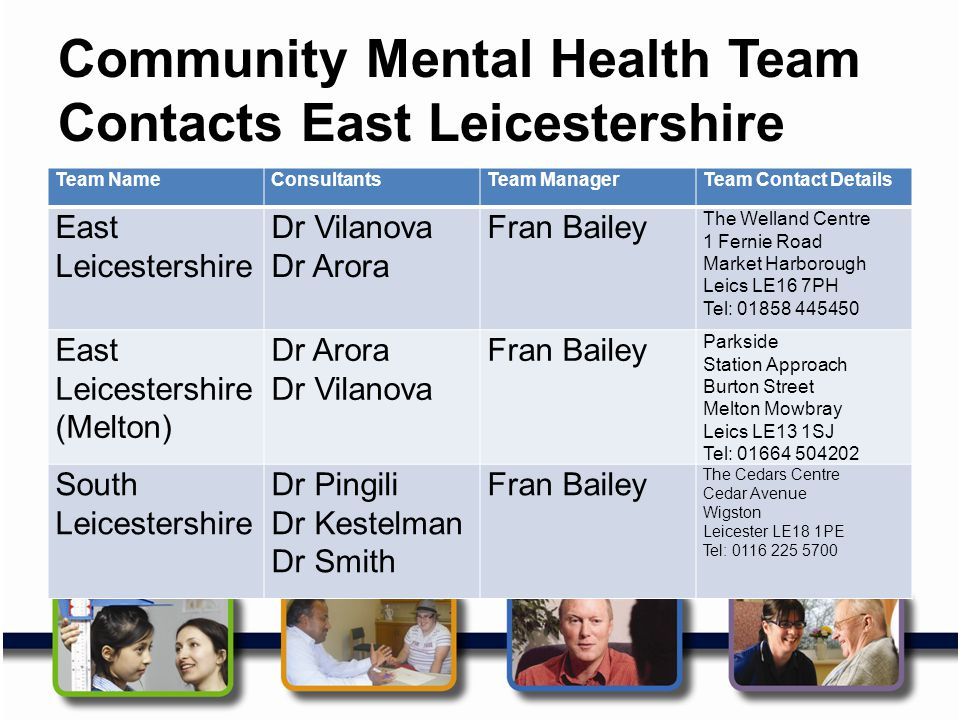 Community Mental Health Team Contacts East Leicestershire Team NameConsultantsTeam ManagerTeam Contact Details East Leicestershire Dr Vilanova Dr Aror