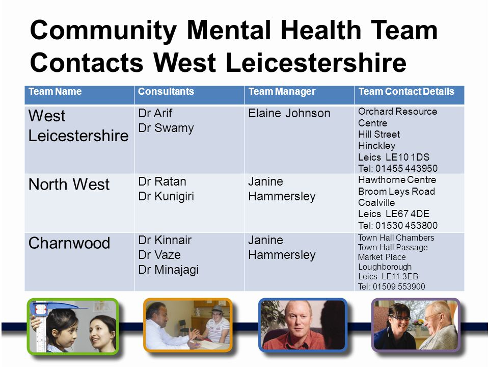 Community Mental Health Team Contacts West Leicestershire Team NameConsultantsTeam ManagerTeam Contact Details West Leicestershire Dr Arif Dr Swamy El