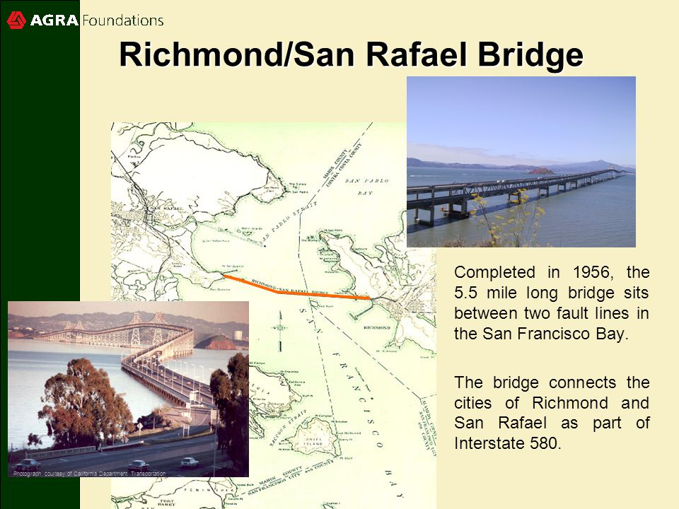Completed in 1956, the 5.5 mile long bridge sits between two fault lines in the San Francisco Bay.