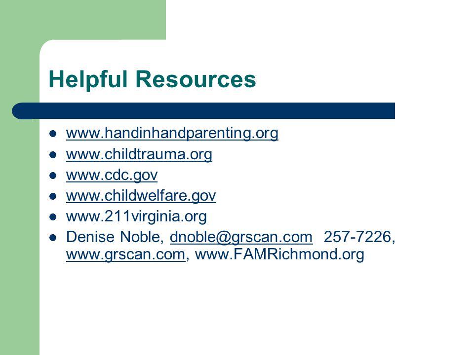 Helpful Resources www.handinhandparenting.org www.childtrauma.org www.cdc.gov www.childwelfare.gov www.211virginia.org Denise Noble, dnoble@grscan.com 257-7226, www.grscan.com, www.FAMRichmond.orgdnoble@grscan.com www.grscan.com