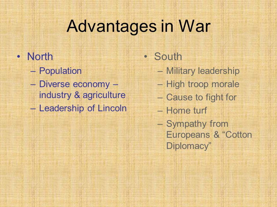 Advantages in War North –Population –Diverse economy – industry & agriculture –Leadership of Lincoln South –Military leadership –High troop morale –Cause to fight for –Home turf –Sympathy from Europeans & Cotton Diplomacy
