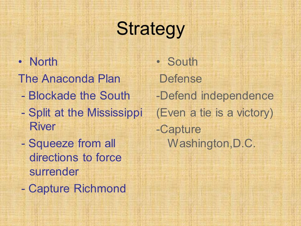 Strategy North The Anaconda Plan - Blockade the South - Split at the Mississippi River - Squeeze from all directions to force surrender - Capture Richmond South Defense -Defend independence (Even a tie is a victory) -Capture Washington,D.C.