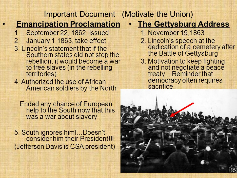 Important Document (Motivate the Union) Emancipation Proclamation 1.September 22, 1862, issued 2.January 1,1863, take effect 3.
