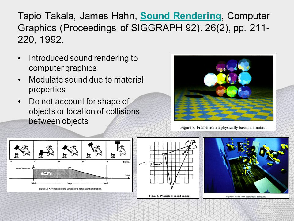 Tapio Takala, James Hahn, Sound Rendering, Computer Graphics (Proceedings of SIGGRAPH 92). 26(2), pp. 211- 220, 1992.Sound Rendering Introduced sound