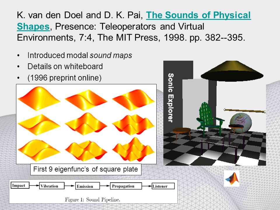 K. van den Doel and D. K. Pai, The Sounds of Physical Shapes, Presence: Teleoperators and Virtual Environments, 7:4, The MIT Press, 1998. pp. 382--395