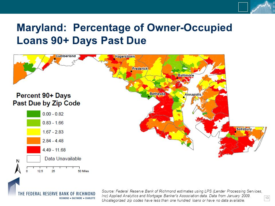 Confidential Information 13 Maryland: Percentage of Owner-Occupied Loans 90+ Days Past Due Source: Federal Reserve Bank of Richmond estimates using LPS (Lender Processing Services, Inc) Applied Analytics and Mortgage Banker s Association data.