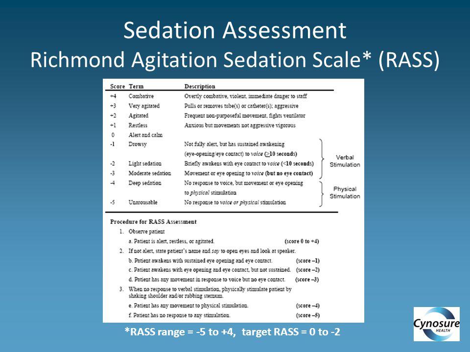 Sedation Assessment Richmond Agitation Sedation Scale* (RASS) *RASS range = -5 to +4, target RASS = 0 to -2