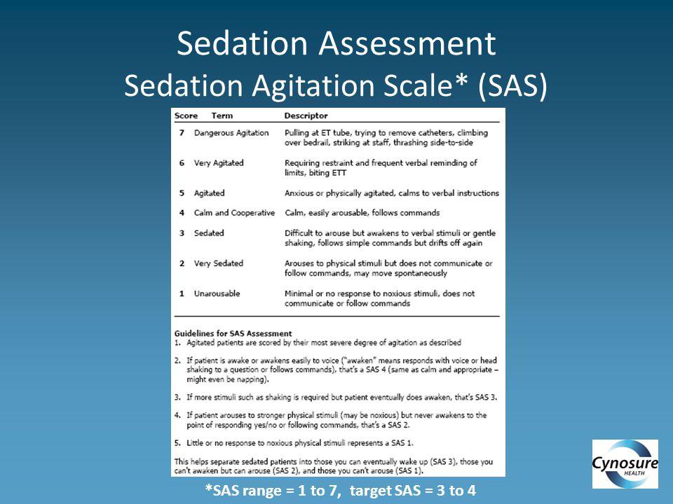 Sedation Assessment Sedation Agitation Scale* (SAS) *SAS range = 1 to 7, target SAS = 3 to 4