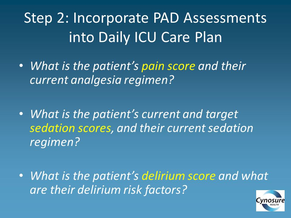 Step 2: Incorporate PAD Assessments into Daily ICU Care Plan What is the patient's pain score and their current analgesia regimen.
