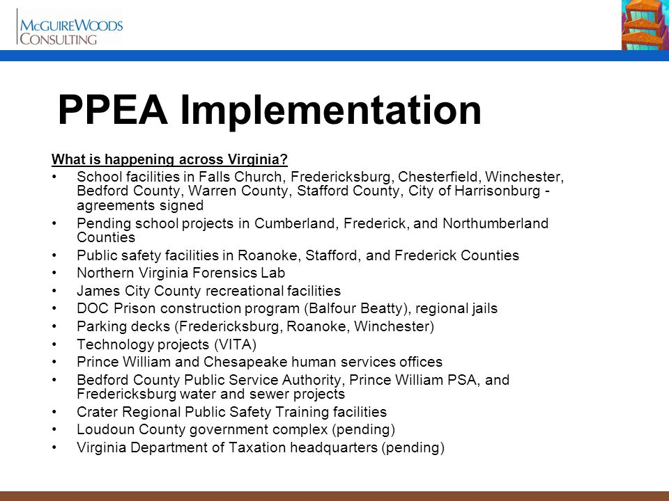 PPEA Implementation What is happening across Virginia.