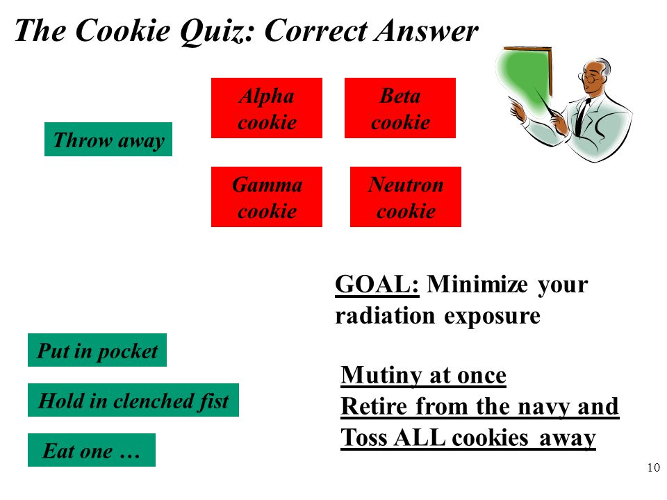 10 The Cookie Quiz: Correct Answer Alpha cookie Beta cookie Gamma cookie Neutron cookie Throw away Put in pocket Hold in clenched fist Eat one … GOAL: Minimize your radiation exposure Mutiny at once Retire from the navy and Toss ALL cookies away