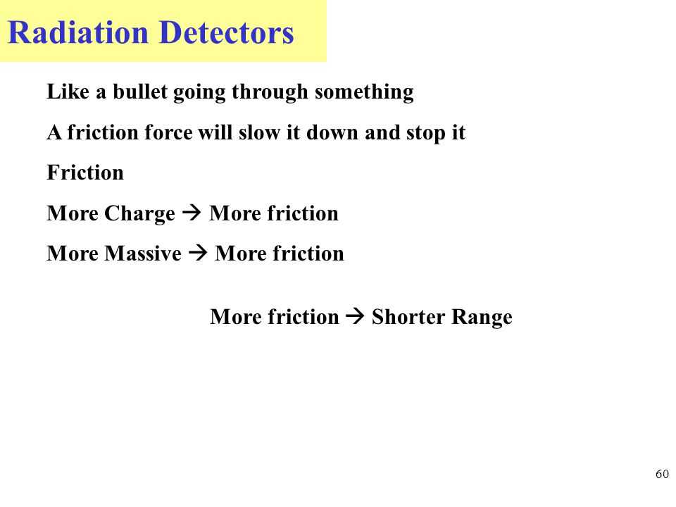 Radiation Detectors 60 Like a bullet going through something A friction force will slow it down and stop it Friction More Charge  More friction More Massive  More friction More friction  Shorter Range