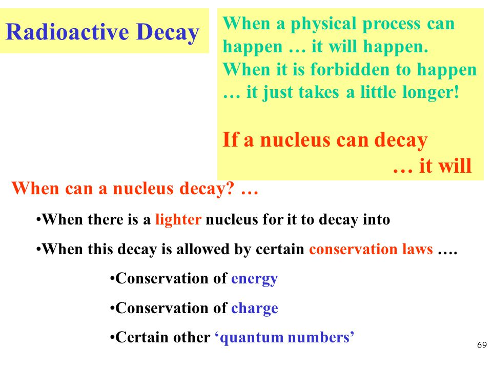 Radioactive Decay 69 When can a nucleus decay.