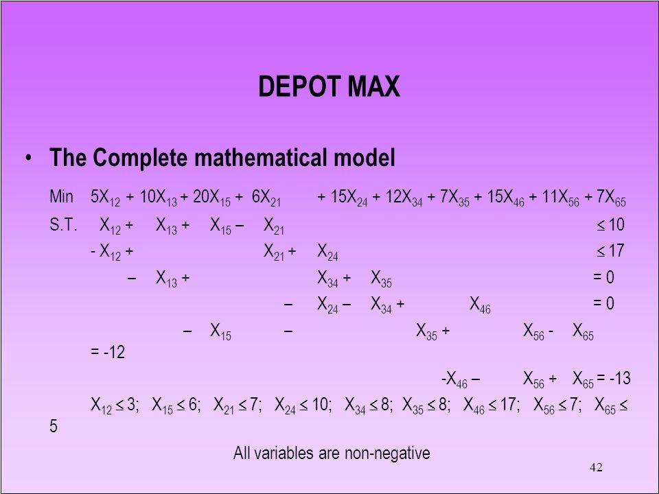 42 DEPOT MAX The Complete mathematical model Min 5X 12 +10X 13 + 20X 15 + 6X 21 + 15X 24 + 12X 34 + 7X 35 + 15X 46 + 11X 56 + 7X 65 S.T.X 12 +X 13 +X 15 –X 21  10 - X 12 +X 21 +X 24  17 – X 13 +X 34 + X 35 = 0 – X 24 – X 34 +X 46 = 0 – X 15 – X 35 +X 56 - X 65 = -12 -X 46 – X 56 + X 65 = -13 X 12  3; X 15  6; X 21  7; X 24  10; X 34  8; X 35  8; X 46  17; X 56  7; X 65  5 All variables are non-negative