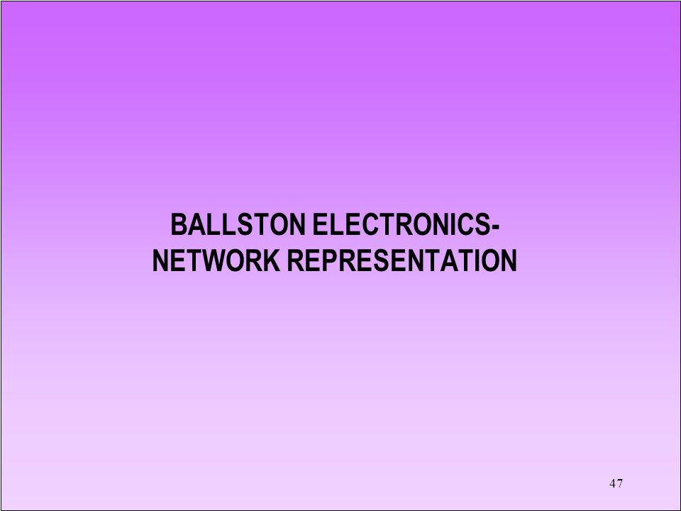 47 BALLSTON ELECTRONICS- NETWORK REPRESENTATION