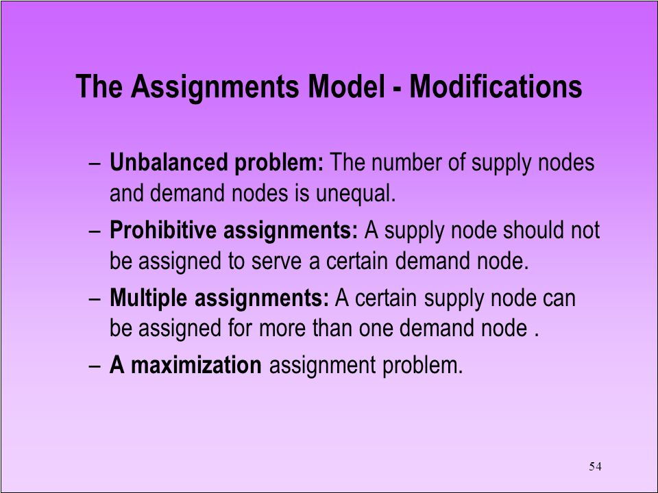 54 The Assignments Model - Modifications – Unbalanced problem: The number of supply nodes and demand nodes is unequal. – Prohibitive assignments: A su