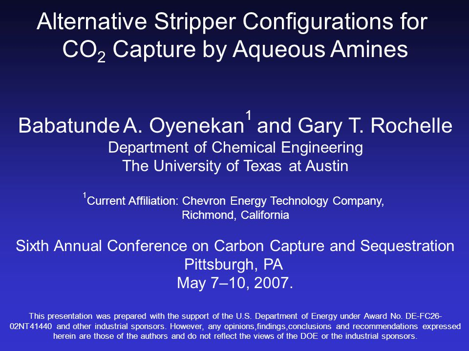 Alternative Stripper Configurations for CO 2 Capture by Aqueous Amines Babatunde A.